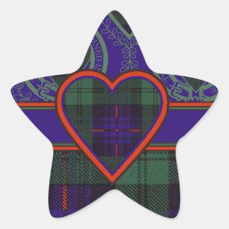 Tartan för kilt för Kinmount klanpläd skotsk Stjärnformat Klistermärke