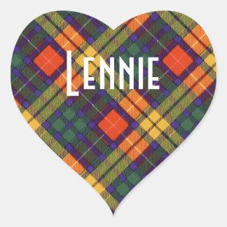 Tartan för kilt för Lennie klanpläd skotsk Hjärtformat Klistermärke