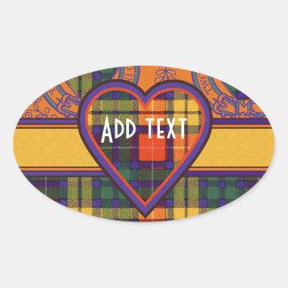 Tartan för kilt för Lennie klanpläd skotsk Ovalt Klistermärke