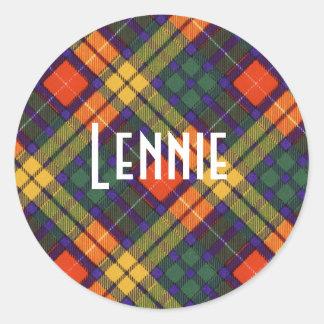 Tartan för kilt för Lennie klanpläd skotsk Runt Klistermärke