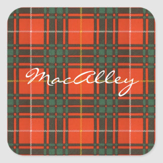 Tartan för kilt för MacAlley klanpläd skotsk Fyrkantigt Klistermärke
