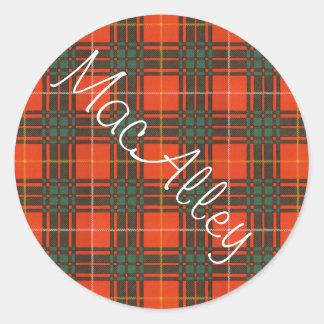 Tartan för kilt för MacAlley klanpläd skotsk Runt Klistermärke