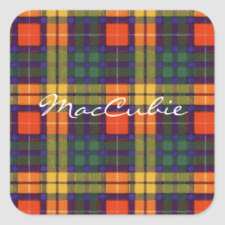 Tartan för kilt för MacCubie klanpläd skotsk Fyrkantigt Klistermärke