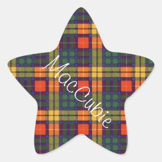 Tartan för kilt för MacCubie klanpläd skotsk Stjärnformat Klistermärke