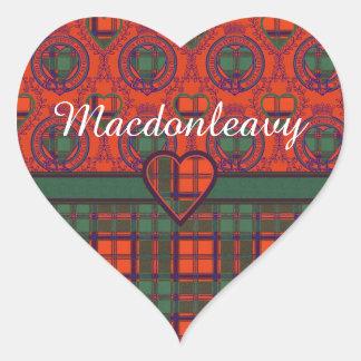 Tartan för kilt för Macdonleavy klanpläd skotsk Hjärtformat Klistermärke