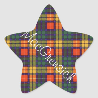 Tartan för kilt för MacGrensich klanpläd skotsk Stjärnformat Klistermärke