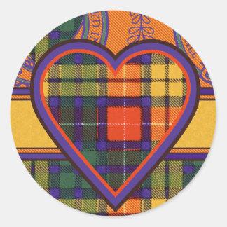 Tartan för kilt för MacKinley klanpläd skotsk Runt Klistermärke