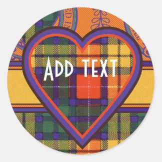 Tartan för kilt för MacLea klanpläd skotsk Runt Klistermärke