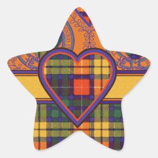Tartan för kilt för MacLea klanpläd skotsk Stjärnformat Klistermärke