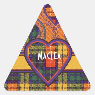 Tartan för kilt för MacLea klanpläd skotsk Triangelformat Klistermärke