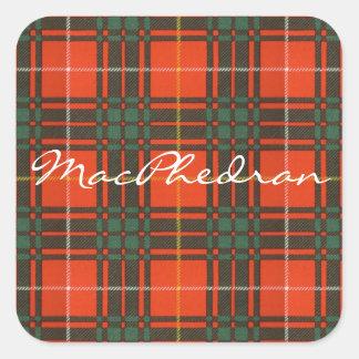 Tartan för kilt för MacPhedran klanpläd skotsk Fyrkantigt Klistermärke