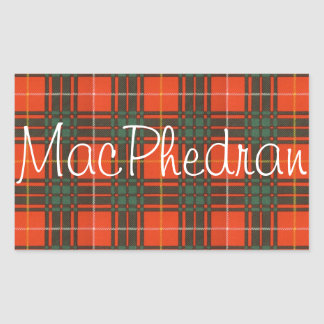 Tartan för kilt för MacPhedran klanpläd skotsk Rektangulärt Klistermärke