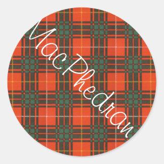 Tartan för kilt för MacPhedran klanpläd skotsk Runt Klistermärke