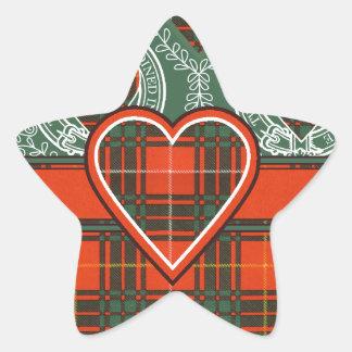 Tartan för kilt för MacPhedran klanpläd skotsk Stjärnformat Klistermärke