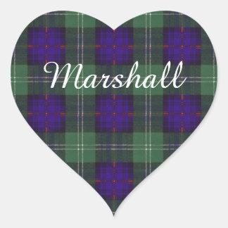 Tartan för kilt för Marshall klanpläd skotsk Hjärtformat Klistermärke