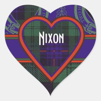 Tartan för kilt för Nixon klanpläd skotsk Hjärtformat Klistermärke