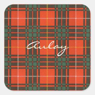 Tartan för kilt för pläd för Aulay klanfamilj Fyrkantigt Klistermärke
