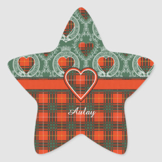 Tartan för kilt för pläd för Aulay klanfamilj Stjärnformat Klistermärke