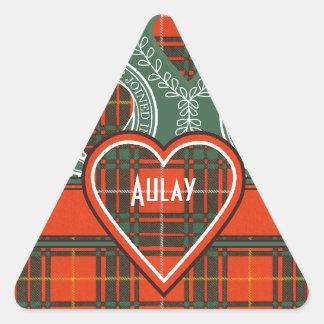 Tartan för kilt för pläd för Aulay klanfamilj Triangelformat Klistermärke