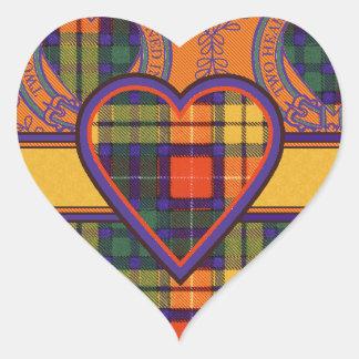 Tartan för kilt för pläd för Buchanan familjklan Hjärtformat Klistermärke