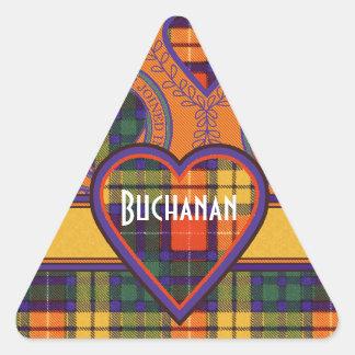 Tartan för kilt för pläd för Buchanan familjklan Triangelformat Klistermärke