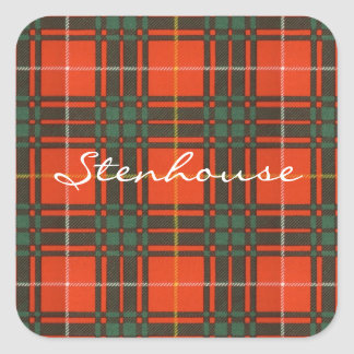 Tartan för kilt för pläd för Stenhouse familjklan Fyrkantigt Klistermärke
