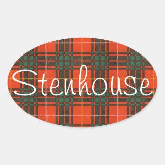 Tartan för kilt för pläd för Stenhouse familjklan Ovalt Klistermärke