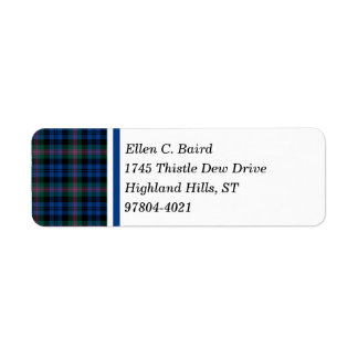Tartan för skott för för Baird klanblått och grönt Returadress Etikett