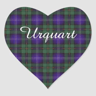 Tartan för skott för Urquhart klanpläd Hjärtformat Klistermärke