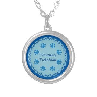 Tass avtryck för snöre 8/Blue för VetTechblått Silverpläterat Halsband