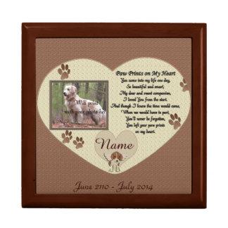 Tass avtryck på min hjärta - hundminnesmärke minnesask