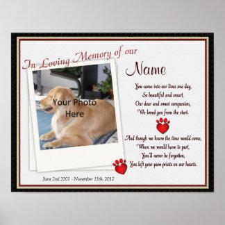 Tass avtryck på min hjärtahusdjurminnesmärke - poster