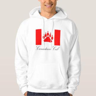 Tass för björn för kanadensisk flagga för unge tröja med luva