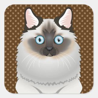 Tassar för Birman katttecknad Fyrkantigt Klistermärke