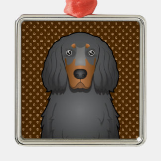 Tassar för tecknad för hund för Gordon Setter Julgransprydnad Metall