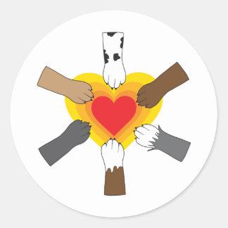 Tassar och hjärta runt klistermärke