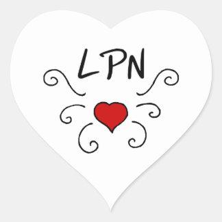 Tatuering för LPN-sjukvårdkärlek Hjärtformat Klistermärke