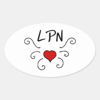 Tatuering för LPN-sjukvårdkärlek Ovalt Klistermärke