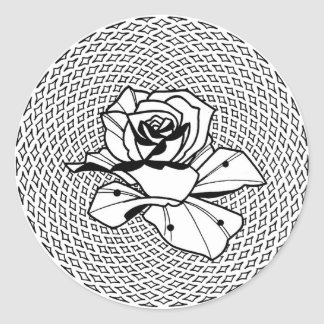 Tatueringen steg på geometrisk bakgrund runt klistermärke