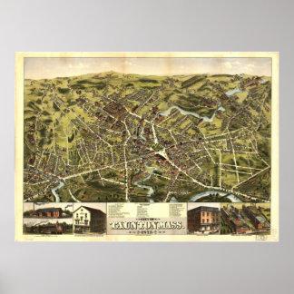 Taunton Massachusetts 1875 antika panorama- karta Poster