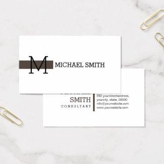 Taupe för vanlig vit för Monogram elegant modern Visitkort