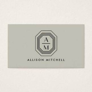 Taupe/svart art décoMonograminredingsdesign Visitkort