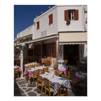 Taverna Nikos, Mykonos, Cyclades öar, Grekland Poster