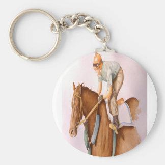Tävlinghäst och Jockey Rund Nyckelring