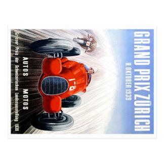 Tävlings- affisch 1939 för Zurich grand prix Vykort