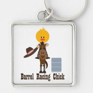 Tävlings- chick Keychain för trumma Fyrkantig Silverfärgad Nyckelring