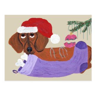 Tax med julstrumpan vykort