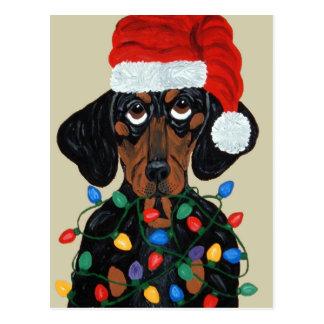 Taxen Santa trasslade till i julljus Vykort