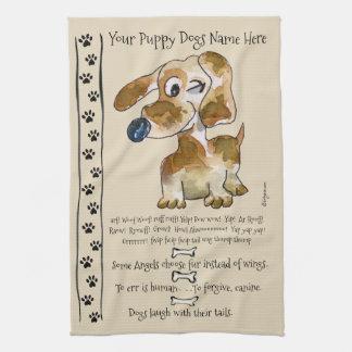 Taxkorsningtecknad hund citerar kök kökshandduk