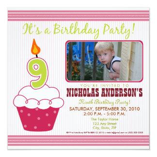 {TBA} 9th födelsedagsfest inbjudan för söt muffin Fyrkantigt 13,3 Cm Inbjudningskort